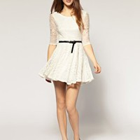 River Island | River Island Belted Lace Dress at ASOS