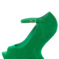 Privileged Dexter Green Peep Toe Heelless Platforms