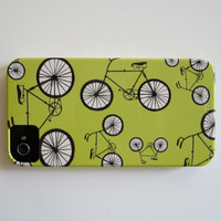 SALE Retro Bicycle Bike iPhone 4/4s case Pattern Yellow Gray Pattern Hipster redtilestudio