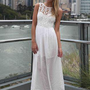 White Sleeveless Maxi Dress with Crochet Daisy Bodice