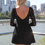 Black Long Sleeve Skater Dress with Scoop Bow Back