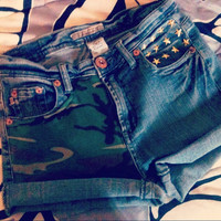 Star Studded Grunge CAMO jeweled pocket cuffed SHORTS
