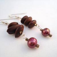 purple dangle earrings  freshwater pearl and acacia seed by BeaKez