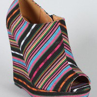 Qupid Enrich-124 Stripe Peep Toe Wedge Bootie