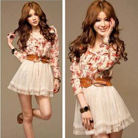 Floral Bowtie Tunic Chiffon +Tulle Mini Dress with Belt