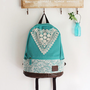 Sky Blue Backpack with Crochet Detail