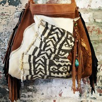 Free People Vintage Mali African Suede Bag