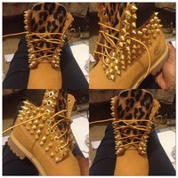 Spiked &amp; Leopard Timberlands (Juniors Sizes 3.5-6)