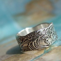 Waves Tattoo Ring, in Eco Friendly Recycled Fine Silver, Nautical Jewelry, 4 5 6 7 8 9 10 11 12 13 14 15 Custom Size Silver Ring