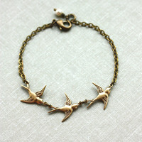 Three Tiny Brass Flying Swallow Bird Pearl Necklace.  Mother Daughters. 3 Sisters. Best Friends. Family. Seniors Graduation. Family of 3.
