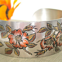 ON SALE Vintage Cuff Bracelet Silver Autumn Flowers Reed and Barton Damascene
