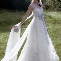 A Line Strapless Lace Papilio Wedding Dresses 2011 PWD193 -Shop offer 2012 wedding dresses,prom dresses,party dresses for girls on sale. #Category#
