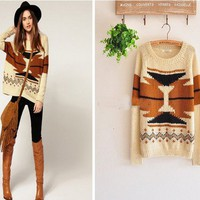 Women Aztec Knitted Scoop Neck Geometric Print Jumper Sweater Pullover Knitwear from Fashion Accessories Store