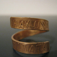 Hakuna Matata Ring, Unique writing in relief, Copper ring, Lion King, Twist Ring, Adjustable Ring, Gifts for best friends