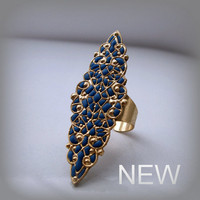 Gold blue long ring filigree jewelry ooak by AndreaBacmanJewelry