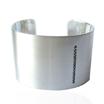 1.5 Cuff With Black Diamonds: Claudia Endler: Silver & Stone Bracelet - Artful Home