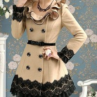 Camel Color Lace Coat