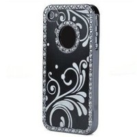 HJX Black Deluxe Luxury Ultra Thin Bling Chrome Diamond Hard Back Case for Apple iPhone 5 5G 6th Rhinestone Aluminium Cover with Attractive Flower + Gift 1pcs Insect Mosquito Repellent Wrist Bands bracelet