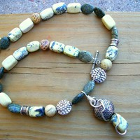Jade And Yellow Turquoise Necklace .. on Luulla