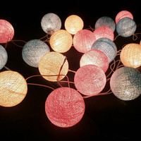 Blue Sky Pink and White tone mixed Hanging stringlights for party and home decoration indoor and outdoor (20 balls/pack)