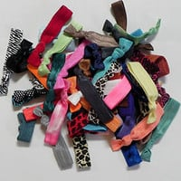 30 elastic hair ties, grab bag, wristbands, foe, bella, emi, twistbands, jay