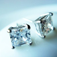 5mm Prong Set Princess Cut CZ 925 Studs