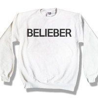 Holiday Sale - &quot;Belieber&quot; - Justin Bieber White Sweatshirt x Crewneck x Jumper x Sweater - All Sizes Available