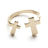 Gold Open Double Cross Ring