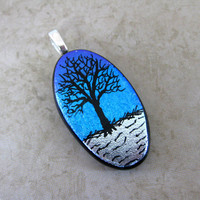 Dichroic Glass Pendant, Glass Pendant Necklace, Tree of Life Series - Wildwood - 3759