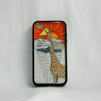 Above the Clouds Thinking, iPhone case, iPhone 4/4s, giraffe, cute, funny quote, one of a kind, unique, sunset, cartoon, women, men, gift
