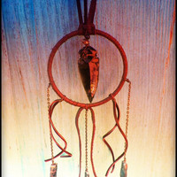 HOLIDAY SALE warrioress... obsidian arrowhead  and kyanite leather hoop necklace gifts under 60
