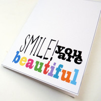 Smile You Are Beautiful - Textured White Inspirational Blank Greeting Card - Great for Mother's Day