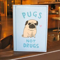 $18.00 Pugs Not Drugs Passport Case  Gemma Correll for by tinymeat