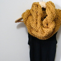 Hand Knitted Cable Cowl Scarf in Mustard Yellow