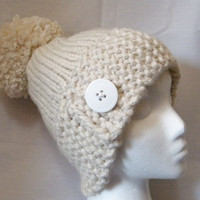 Hand Knit Hat with Extra Large Pompom in Cream