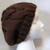 Hand Knit Cable Slouchy Hat in Brown