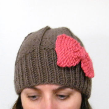 Hand Knitted Hat with Pink Bow in Taupe