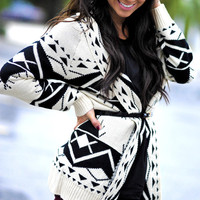 American Indian Cardigan: Black/White | Hope's