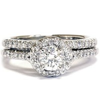 Amazon.com: .75CT Diamond Halo Wedding Ring Set 14K White Gold: Jewelry
