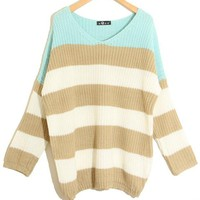 Mint Stripes V-neck Loose Knitted Knitting Sweater Pullover Jumpers-Free Shipping!
