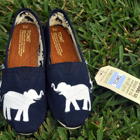 Custom Hand Painted Elephant TOMS