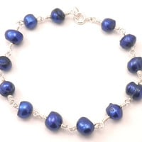 Pearl Bracelet - Wire Wrapped Sapphire Pearls in Silver