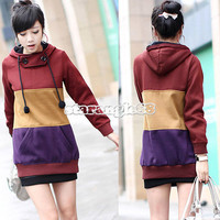 Womens Celebrities Korean Style Thicken Long Hooded Coat Top Sweater SA88