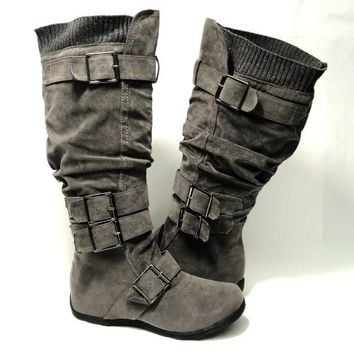 Womens Knee High Faux Suede Flat Winter Buckle Boots Gray , 5.5-10