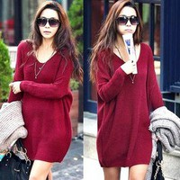 L745 Women Knitting Knitwear Jumpers Mini Dress Sweater Tops V-Neck Blouse Shirt