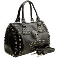 Chick&Stylish - HOWEA Trendy Black 3D Rhinestone Devil Skull Studded Top Double Handle Doctor Style Bowler Satchel Shopper Tote Handbag Purse Shoulder Bag