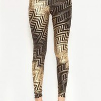 Black and Metallic Gold Zig Zag Print Leggings