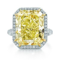 Tiffany & Co. | Item | Rectangular fancy intense yellow diamond ring in platinum and 18k gold. | United States