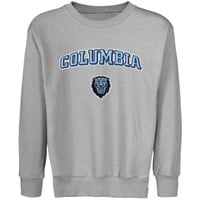 Columbia University Lions Youth Logo Arch Applique Crew Neck Fleece Sweatshirt - Ash