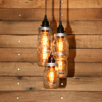 5 Jar Pendant Light - Mason Jar Chandelier Light - Hanging Mason Jar Hanging Pendant Light